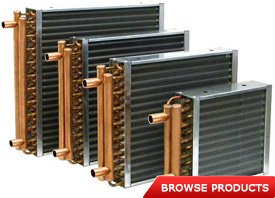 Aluminum finned copper coil water to air heat exchangers